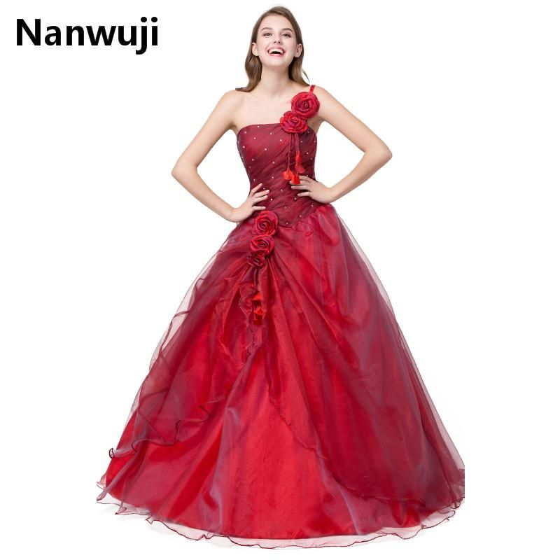 Quinceanera Dress 15 Years Old Dresses Birthday Ball Gowns One Shoulder  Strapless Floor Length Appliques Hand Made Flower Beads. 1413ab993a2c