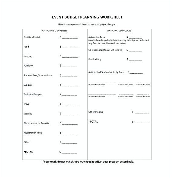 Event Planning Budget Template   Excel Budget Template Mac