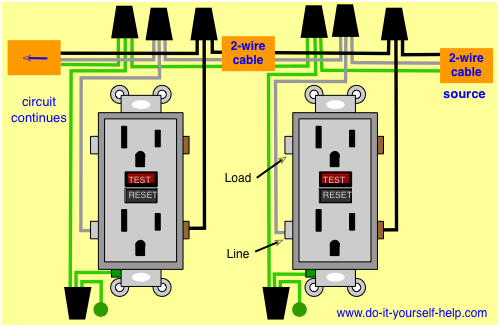 wiring diagram for two 120 volt gfci outlets in a circuit | electrical  wiring, electricity, home electrical wiring  pinterest
