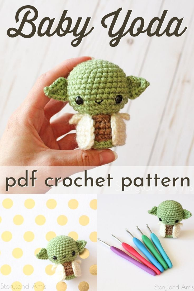 Adorable little baby yoda crochet pattern. Tiny little keychain sized toy! Perfect little handmade gift idea for the Star Wars lover in your life! Gotta love the Mandalorian and The Child amigurumi pattern. #crochetpattern #amigurumipattern #babyyoda #babyyodacrochet #patternroundup #craftevangelist