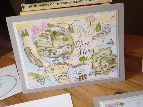 """Map Wedding Invitation Love No. 7 """"Combe Magna"""", with Calligraphy and Watercolor. Custom handpainted and handwritten"""