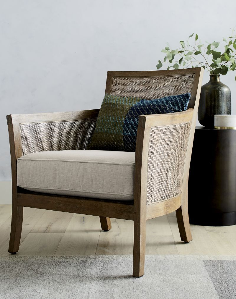 Blake Rattan Arm Chair with Fabric Cushion + Reviews   Crate and Barrel is part of Rattan chair - Sale ends soon   Shop Blake Rattan Arm Chair with Fabric Cushion