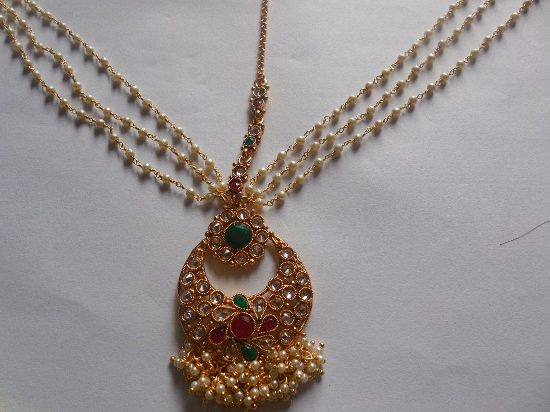 Beautiful Gold plated Three Layer Pearl chain Matha PattiRoyal