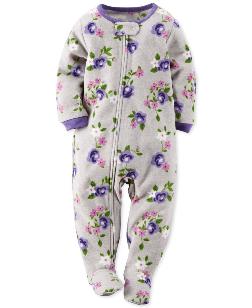 Carter's Baby Girls' One-Piece Footed Floral-Print Pajamas ...