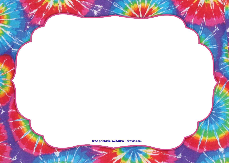 Free Tie Dye Invitation Template Tie Dye Party Free