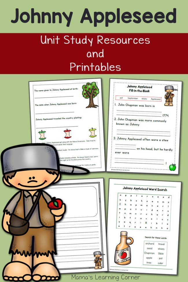 Johnny Appleseed Printables and Unit Study Resources