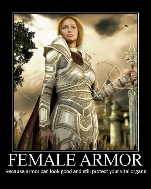 Apologise, but, Fantasy female armor meme