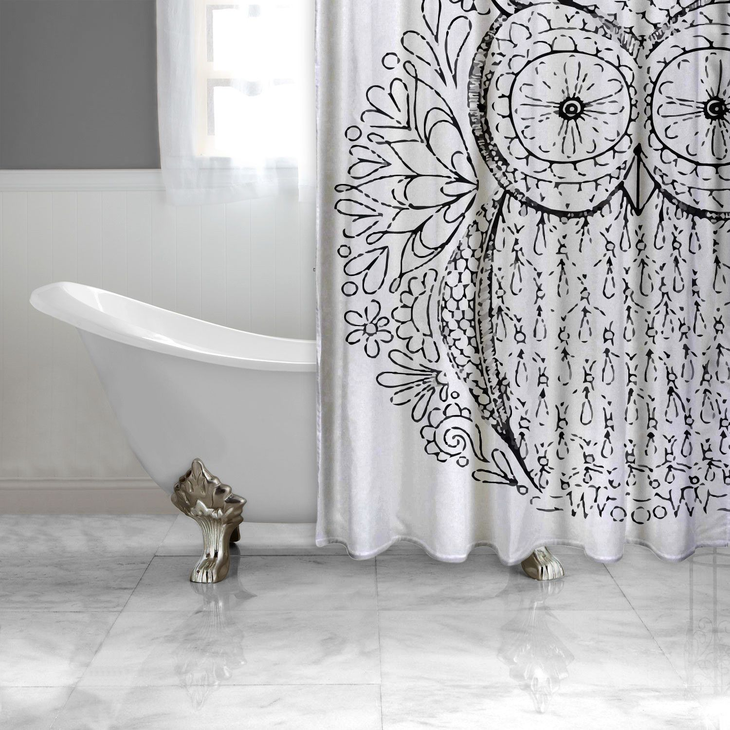 Owl Decor For Bathroom Black And White Owl Shower Curtain Adult Coloring Book