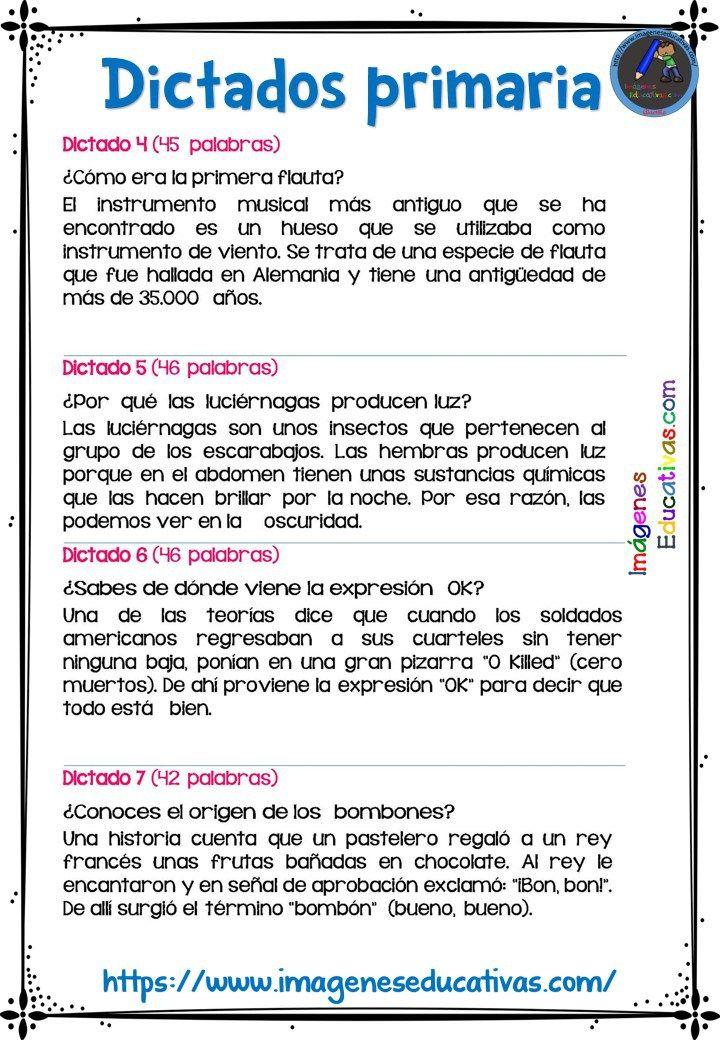 30 DICTADOS PARA PRIMARIA 1º 2º Y 3º CICLO - Imagenes Educativas