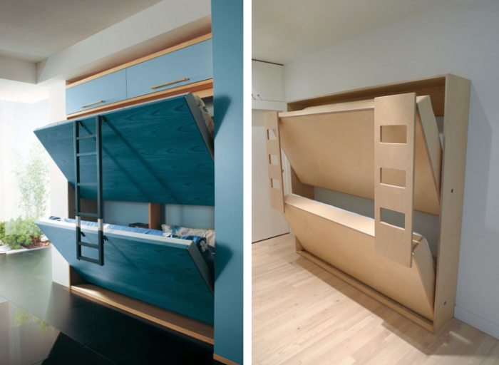 blue and wood pull down murphy bunk beds Murphy bunk
