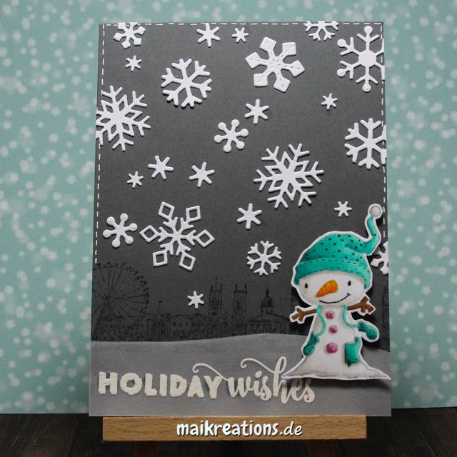 "Wintery Holiday card with ""Winterberry"" from Purple Onion Designs.  More pictures and a list of supplies can be found on www.maikreations.de"