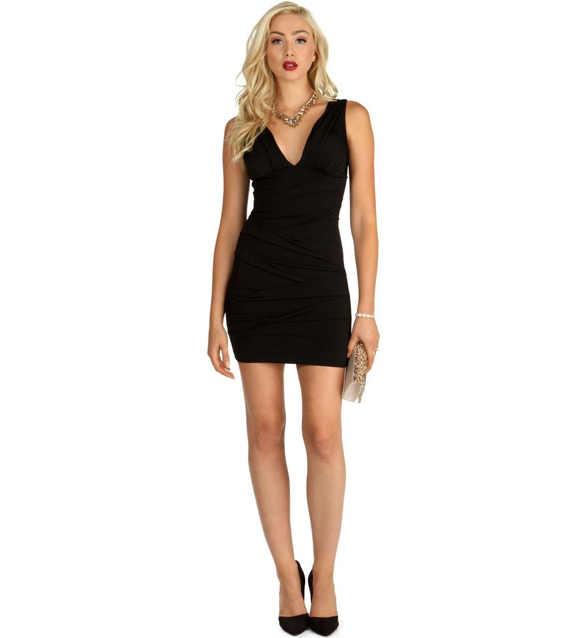 Black dresses for wedding  Black V Neck Bandage Dress  Weddings to come   Pinterest  Black