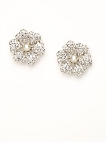 Swarovski Jewelry Pearl   Crystal Flower Stud Earrings  63  a7dc7503b