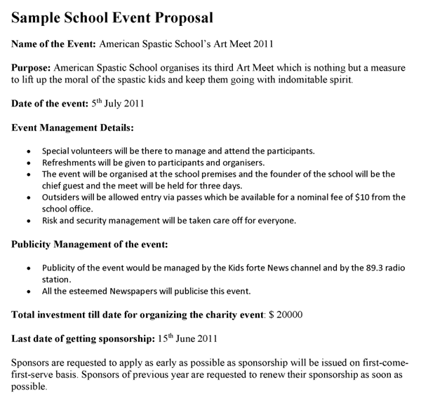 School Event Proposal Template Event Proposal Event Proposal Template Proposal Letter