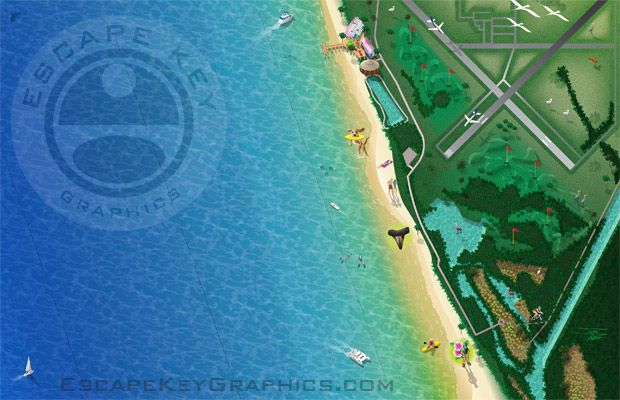 Venice Beach Florida Map.Venice Beach Florida Map Illustration By John Potter Of Escape Key