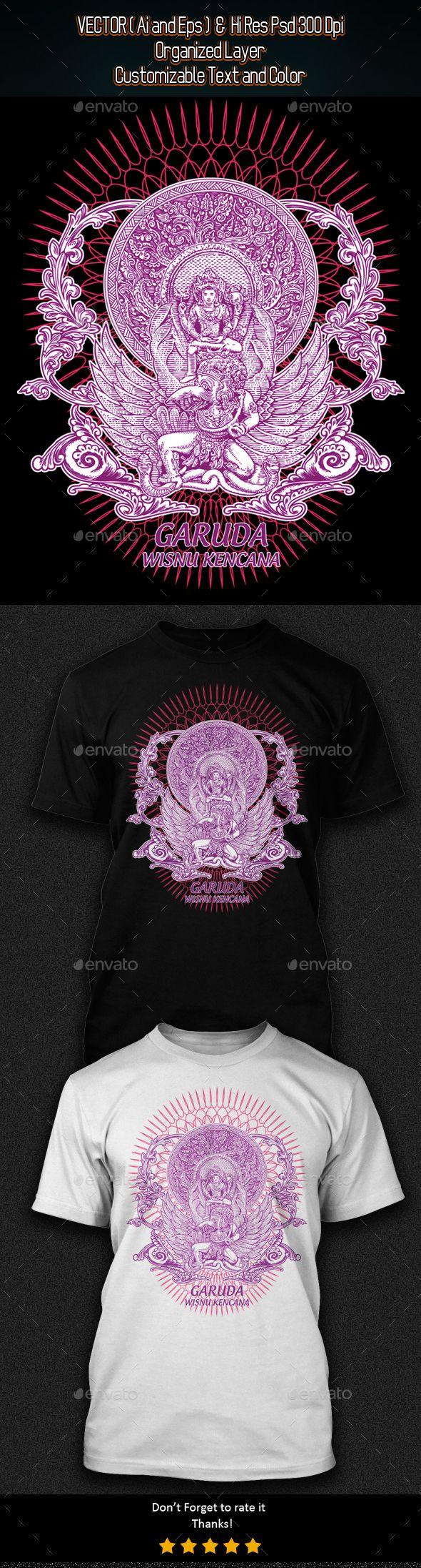 Shirt design illustrator template - Design Garuda Wisnu Kencana T Shirt Illustration Template