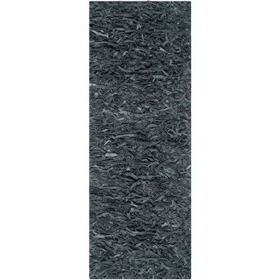 "Safavieh Leather Shag Grey Rug Rug Size: 2'-3"" X 11'"