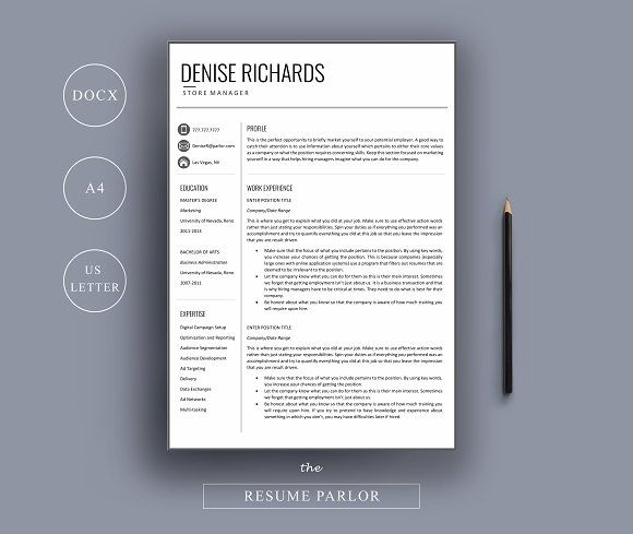 Resume 4 Page A4 + US Letter Sizes by The Resume Parlor on - resume business cards