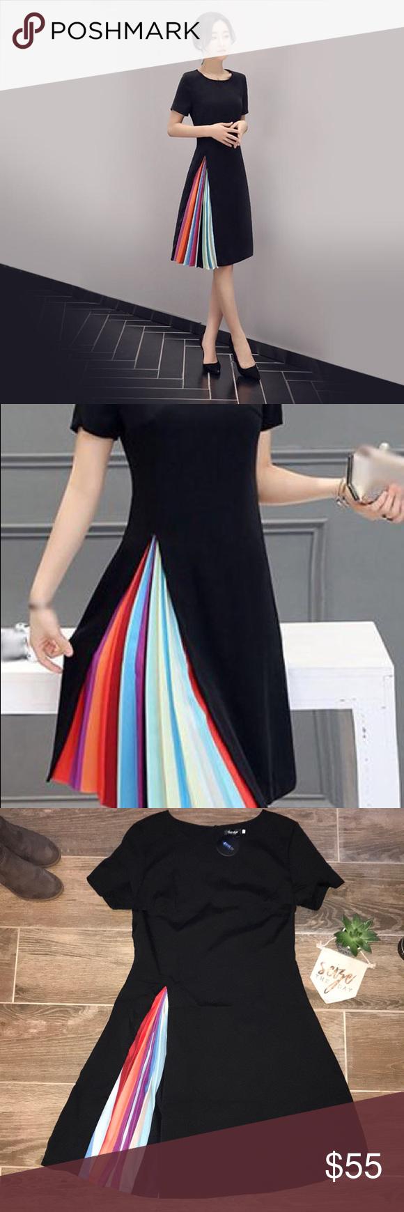 Nwt Hidden Pleated Rainbow Block Dress Nwt Block Dress