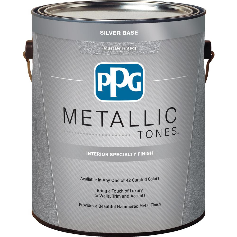 Ppg Metallic Tones 1 Gal Silver Metallic Interior Specialty Finish Ppg4000 01 The Home Depot Metallic Paint Colors White Wash Brick Silver Metallic Paint