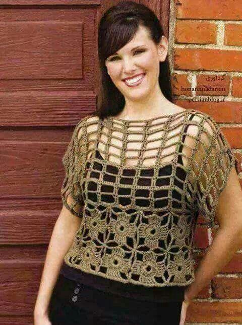 3-3 blusa c/granny | 2 Patrones crochet ropa adulto | Pinterest ...