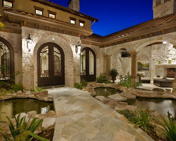 Beautiful Covered Patio Entry With Tuscany Inspirations Deck