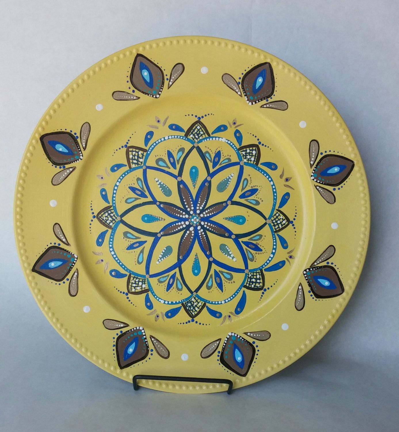 Decorative Plate Hand Painted Wall Decoration Platter Yellow Dining Room Decor And Blue By