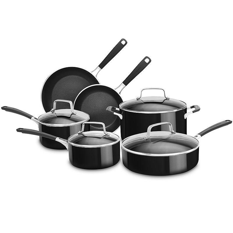 Kitchenaid 10pc aluminum nonstick cookware set kc2as10ob