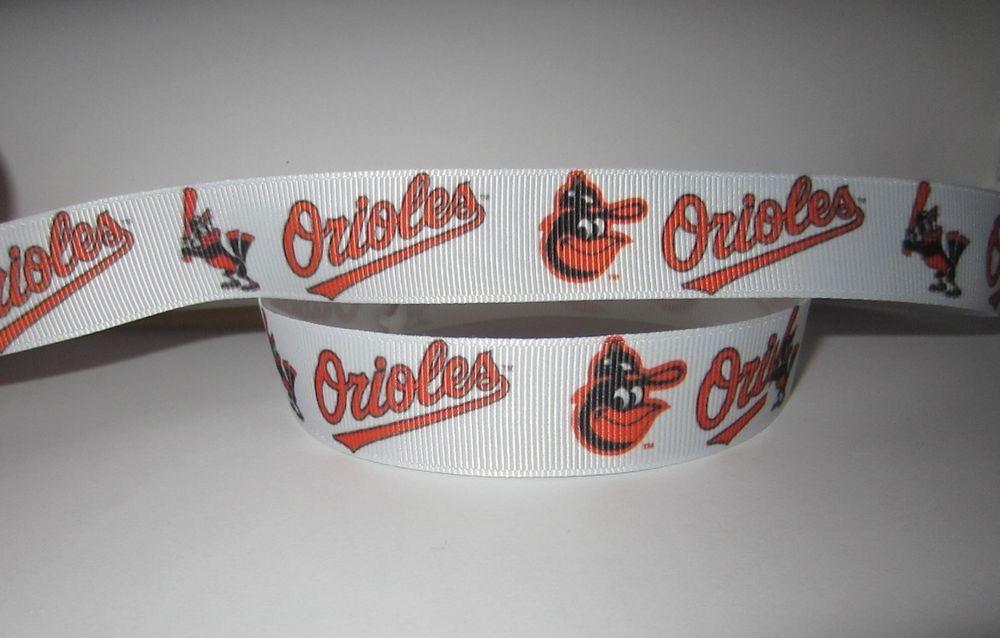 "5 Yards 7//8/"" Baltimore Orioles Baseball Grosgrain Ribbon Crafts Bows Scrapbook 5"