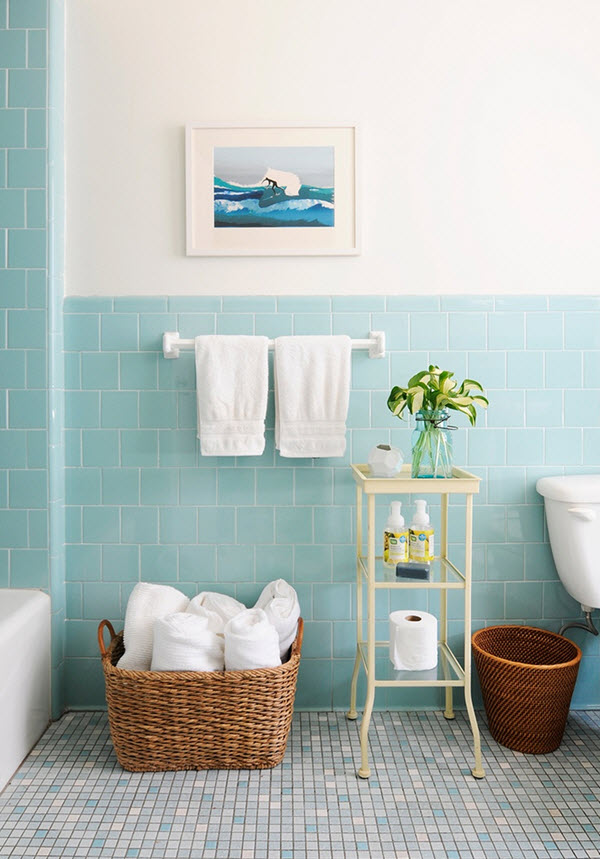 Vintage Blue Tile Bathroom Decorating Ideas In 2020 Blue Bathroom Tile Green Tile Bathroom Green Bathroom