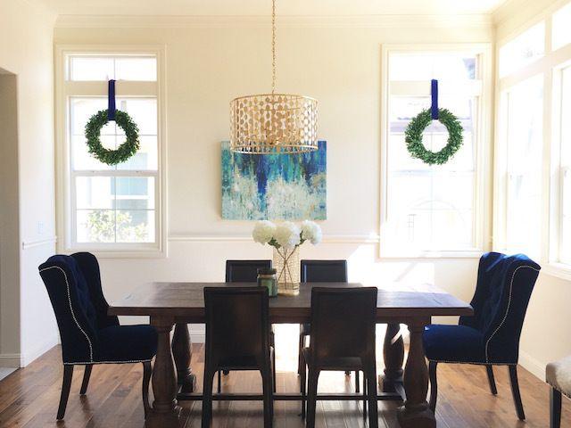 Eggshell Home   Rustic Modern Glam Dining Room Blue Velvet Chairs Goldu2026