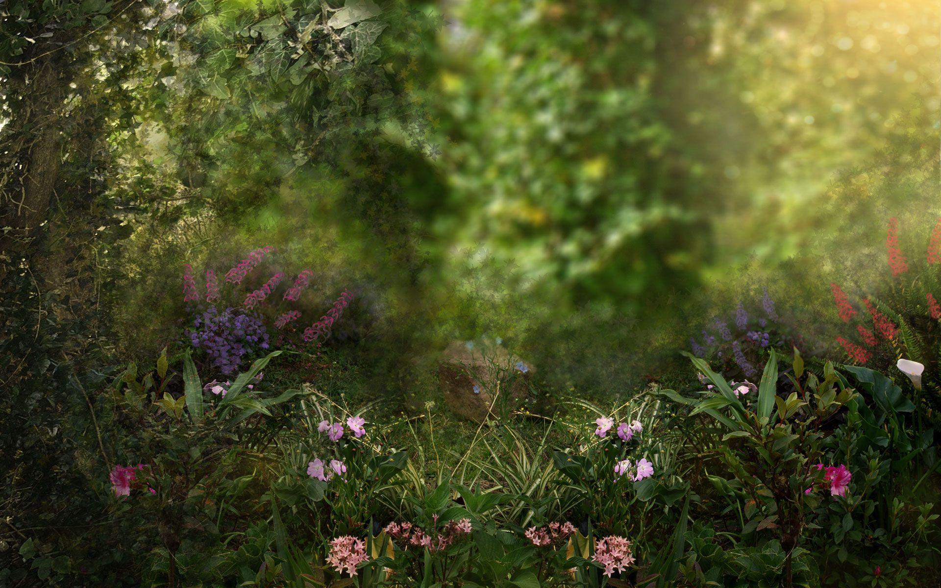 Fantasy Garden Art Flowers Garden Trees Flower Garden Cat Flowers Wallpaper Backgrounds