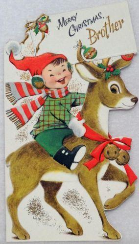#1879 50s Volland Boy Rides the Deer-Vintage Diecut Christmas Card-Greeting