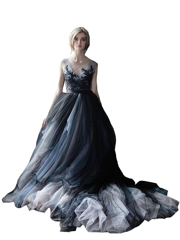 2c8eb224de5 Lazacos Women s White and Black Tulle Lace Appliques Vintage Gothic Wedding  Dress at Amazon Women s Clothing store