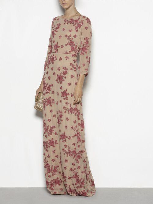 Vestido largo flores granate