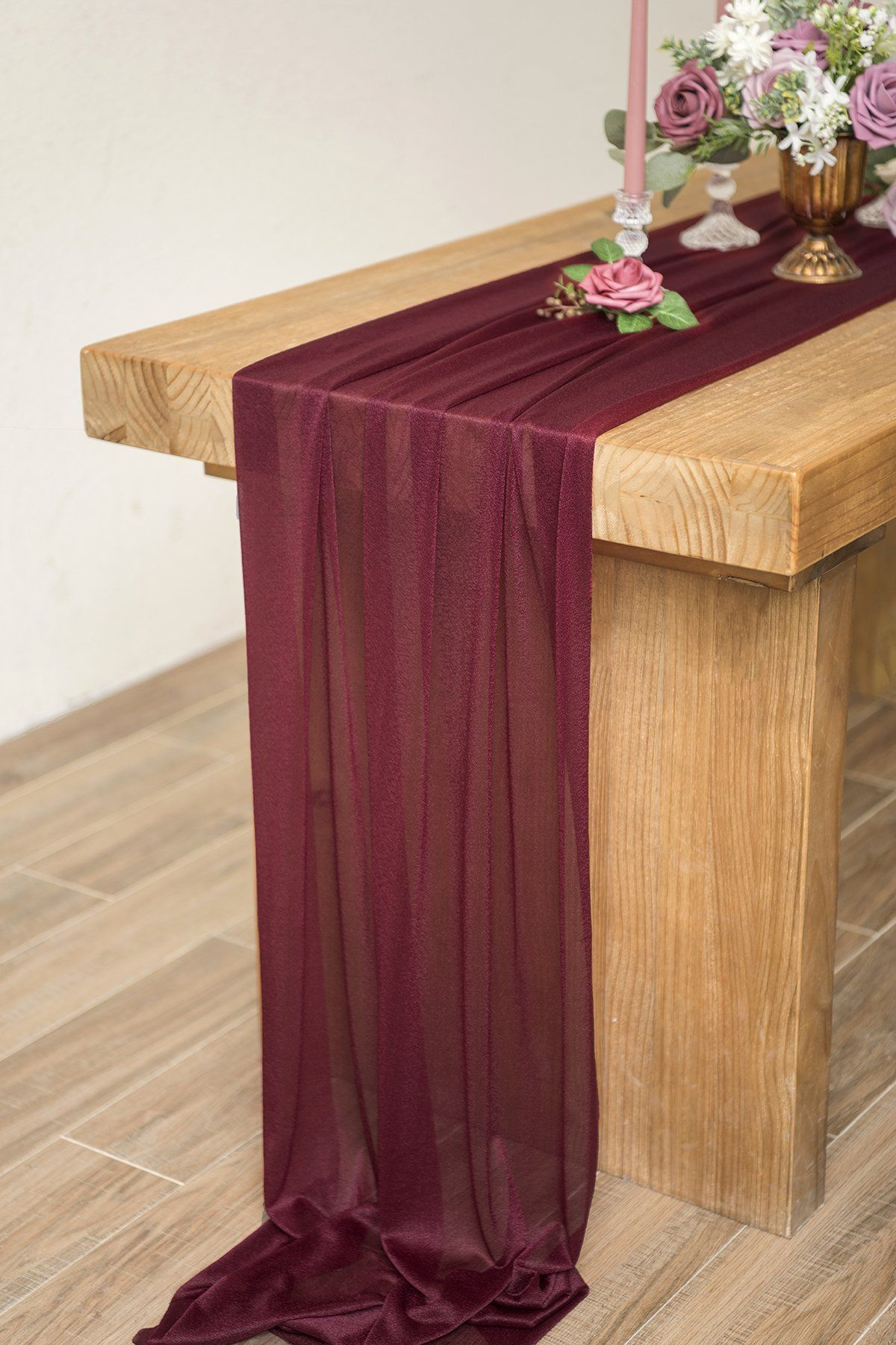 27 X 120 Chiffon Table Runner Wedding Sheer Table Runner 6 Colors Ling S Moment In 2020 Burgundy Table Runner Table Runners Wedding Table Runners