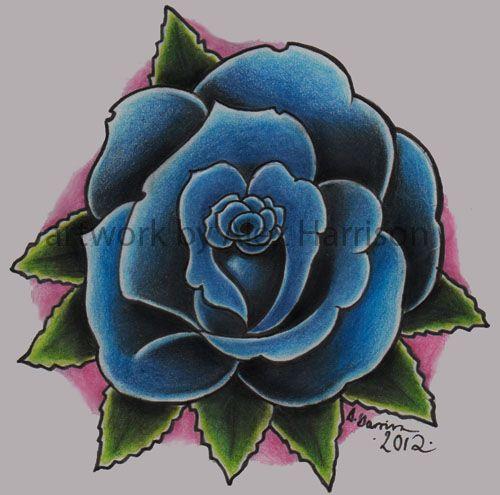 Blue Rose Tattoo Design By Genocide Al Joel Rose Tattoo Design Blue Rose Tattoos Rose Tattoos