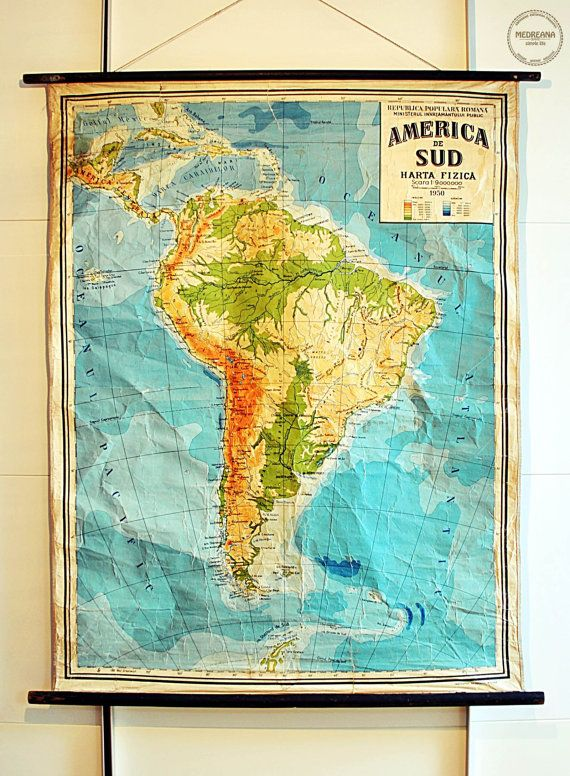 Large Vintage Pull Down Map of South America от VintageMedreana ...