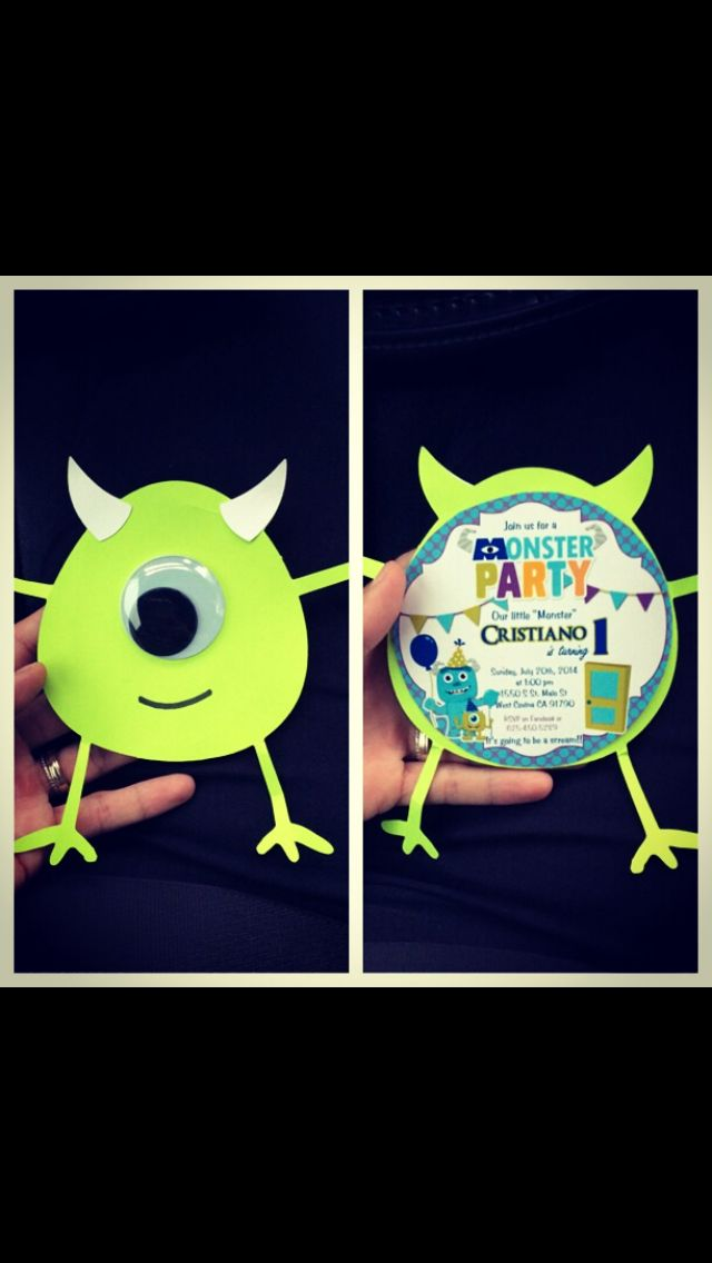 Monsters inc first birthday party invitations :) made with my cricut ...