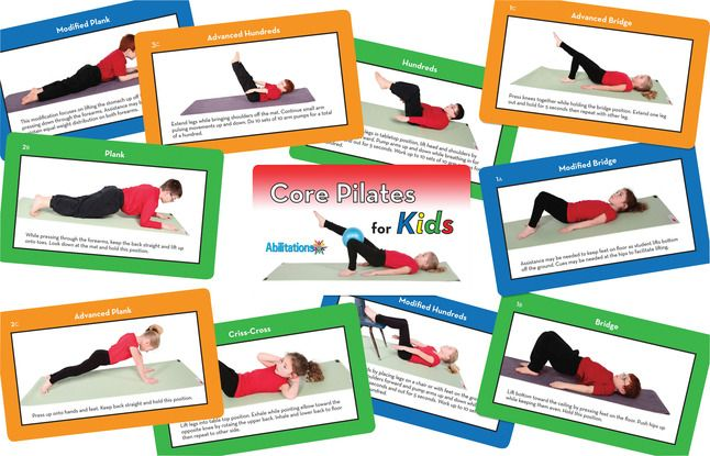 Sportime Core Pilates for Kids Exercise Cards, 3-1/2 x 5 Inches, Set of 56