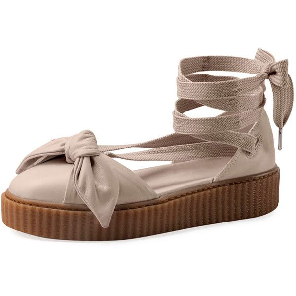 Fenty Puma By Rihanna Leather Bow Creeper Sandal ( 180) ❤ liked on Polyvore  featuring shoes a791e86bf