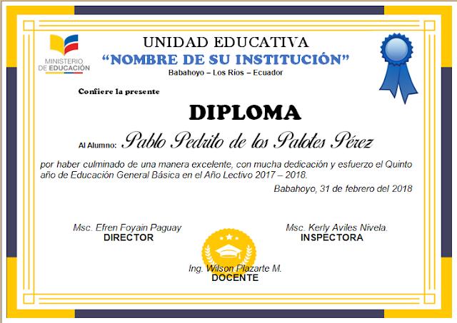 296f1726e Diplomas editables en Word para Imprimir | AYUDA DOCENTE Diplomas De  Bachiller, Diploma De Escuela