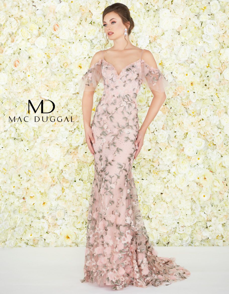 This Mac Duggal Couture 50564D rose pink evening gown
