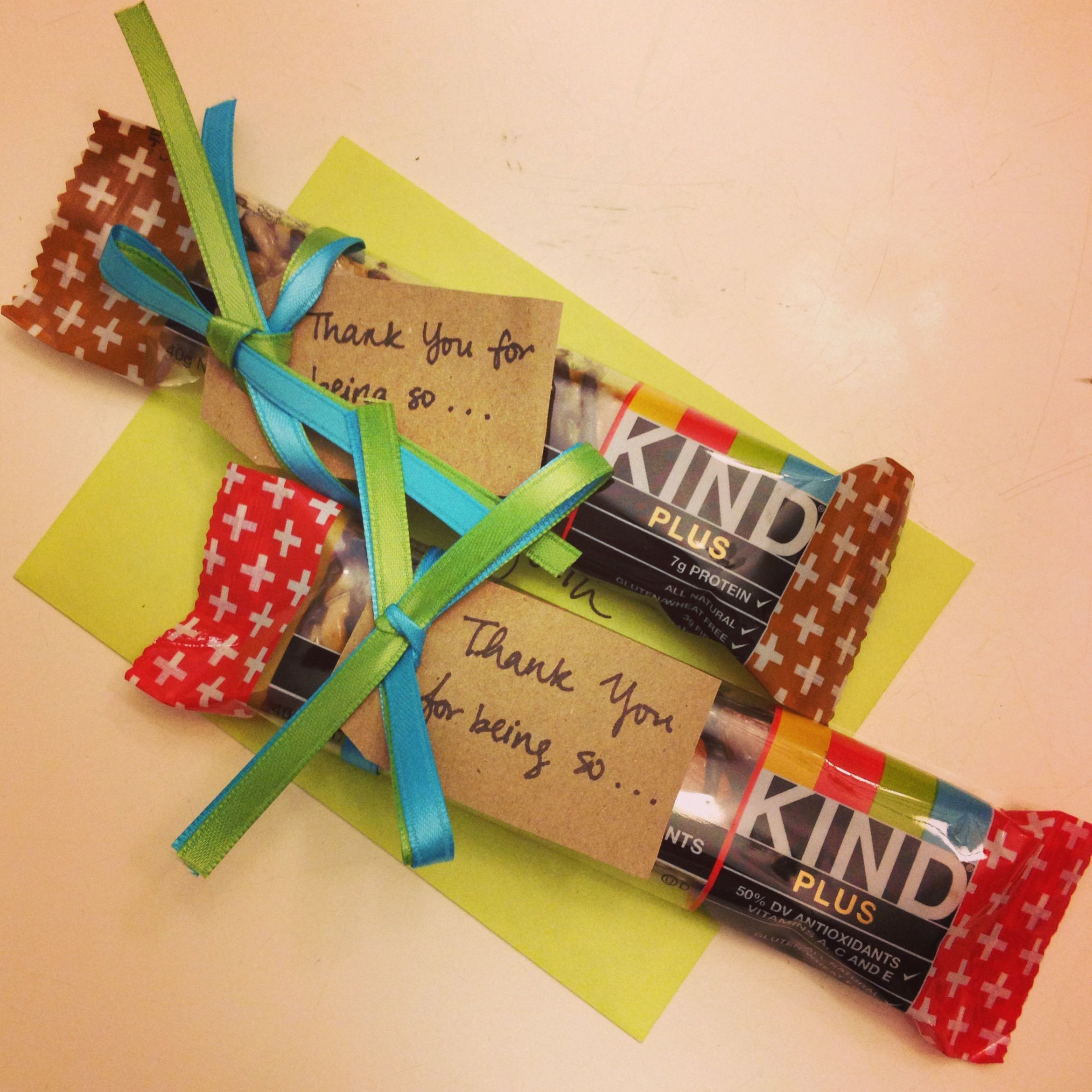 Cute Thank You Gift Idea Using Kind Bars In 2020 Employee Appreciation Gifts Volunteer Appreciation Gifts Staff Gifts