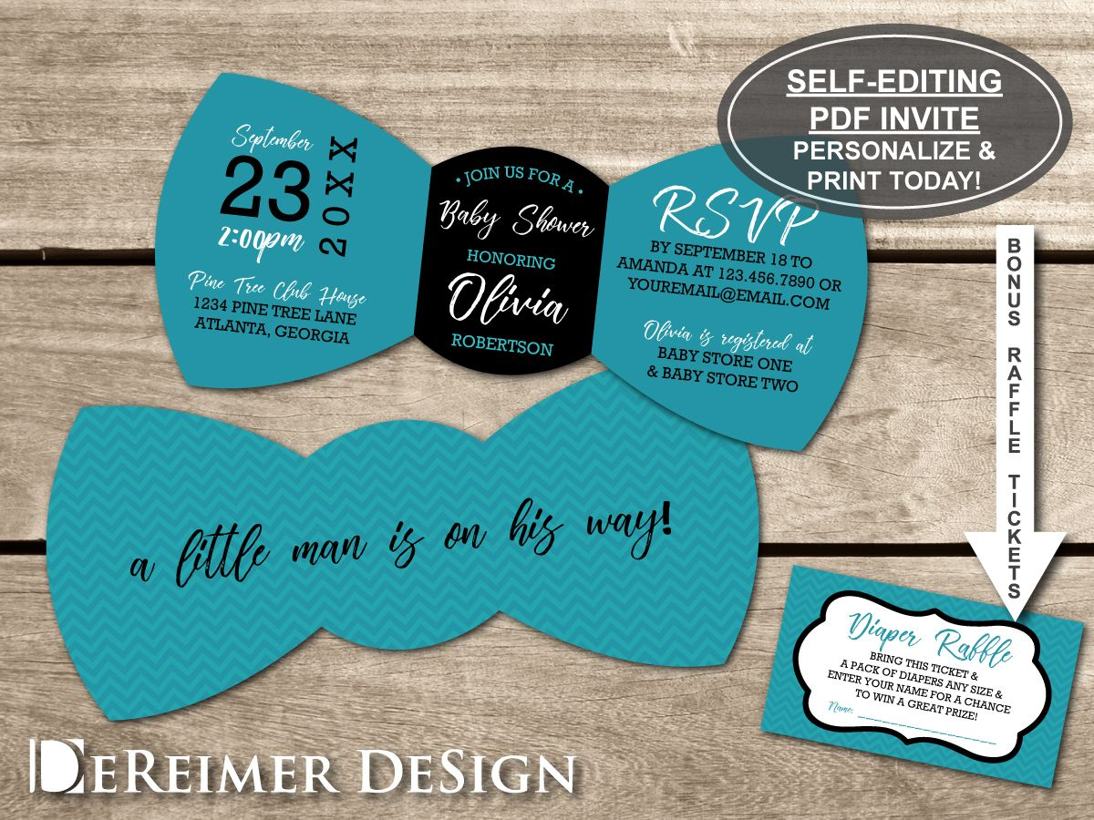 Little Man Baby Shower Invitation, Bow Tie Invitation, Bow Tie, Teal ...