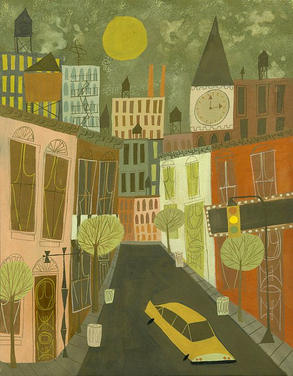 Greenwich Village.  Limited edition 13x19 print by Matte Stephens.. $60.00, via Etsy.