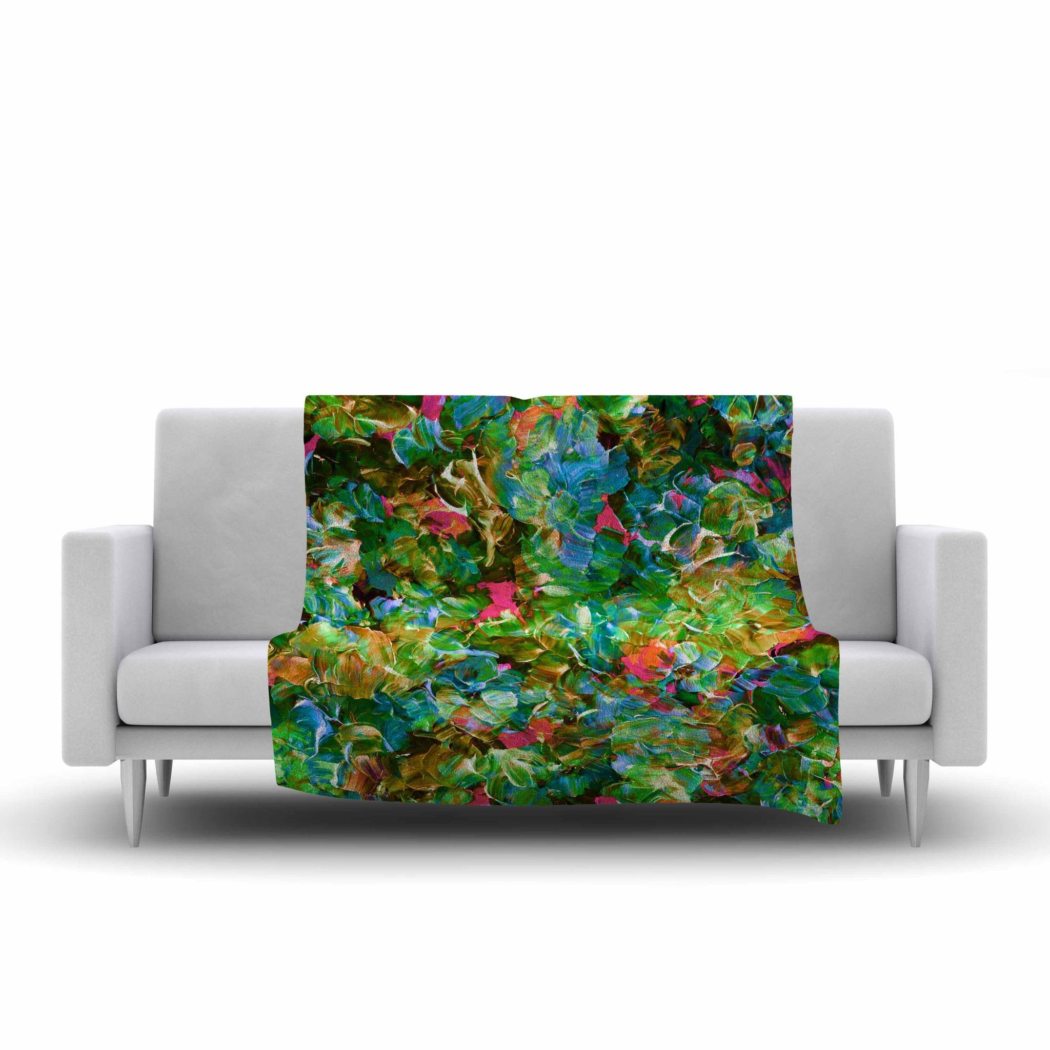 "Ebi Emporium ""Bloom On! Tropical "" Green Blue Fleece Throw Blanket"