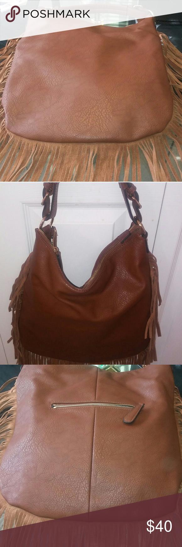 Crown Vintage Handbag New Never Worn Brown Fringes Three Compartments Bags Shoulder