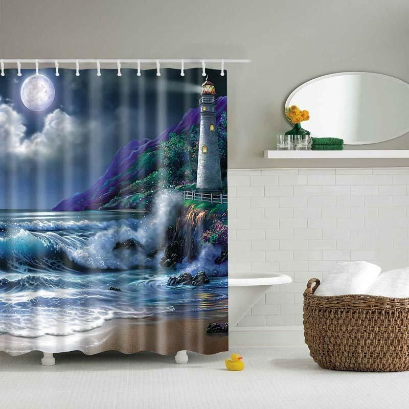 Lighthouse Shower Curtain Fabric Shower Curtains