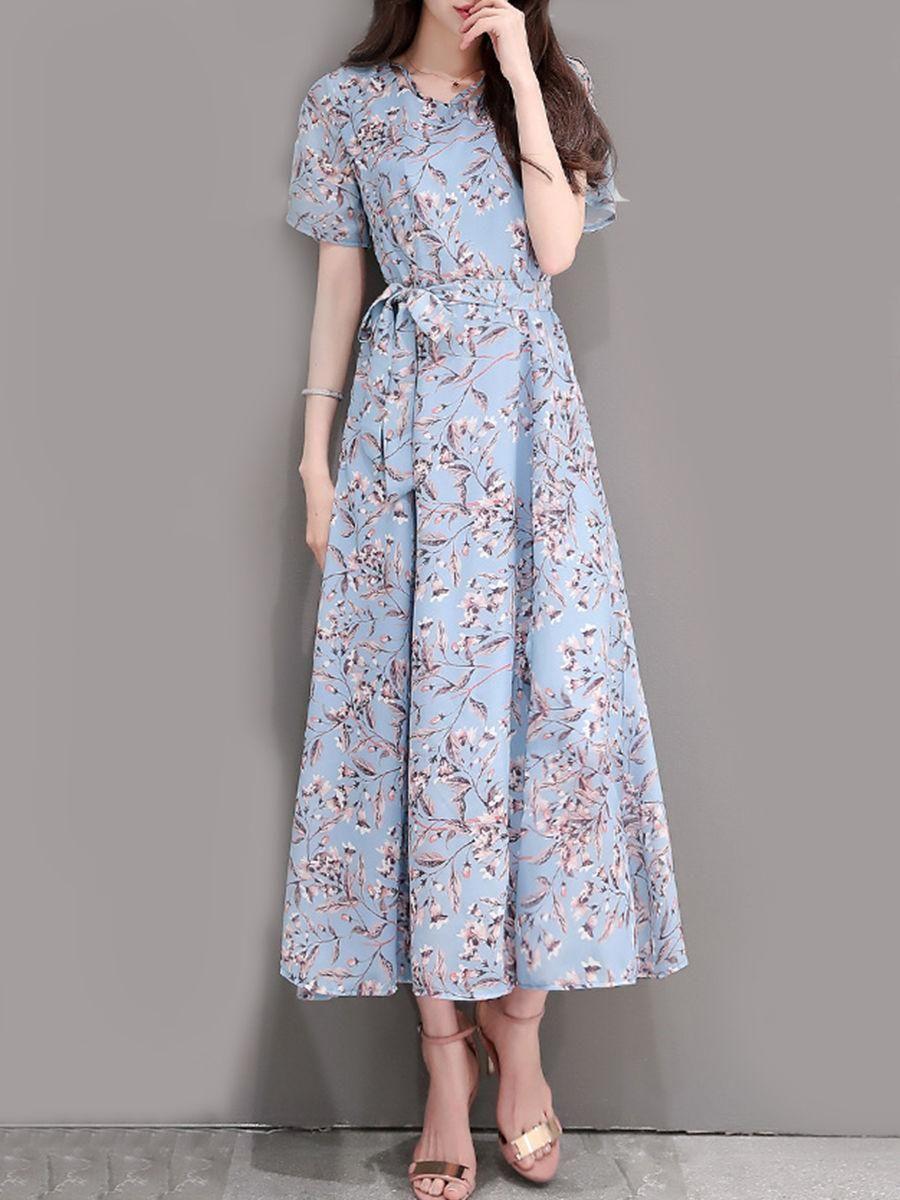 Round neck bowknot slit printed chiffon maxi dress dream closet